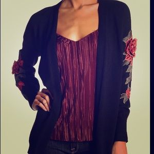 Embroidered Floral Open Front Cardigan